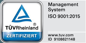 TÜV Siegel für DIn ISO EN 9001:2018